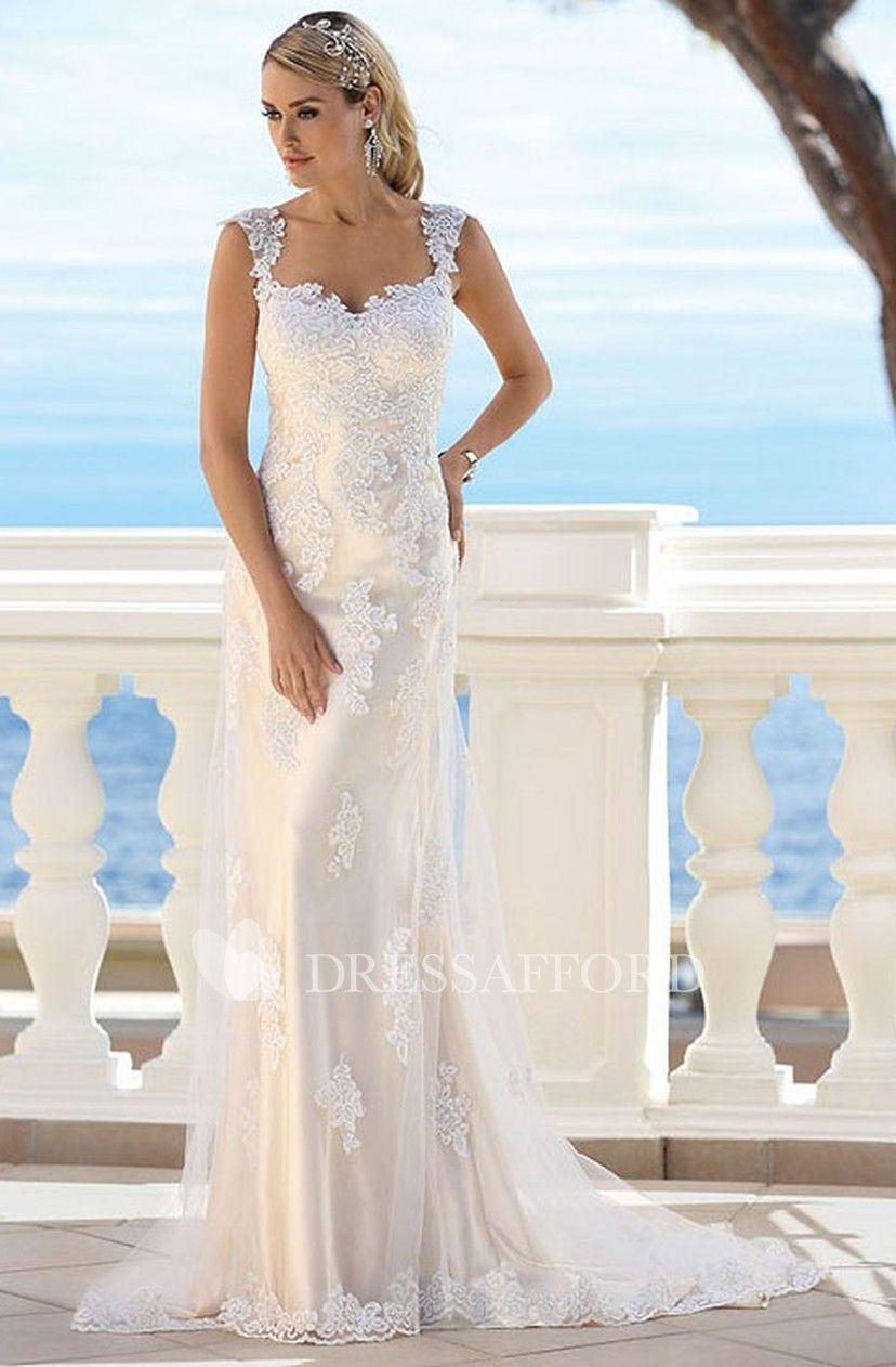 Queen anne sheath lace appliqued tulle wedding dress with lowv back
