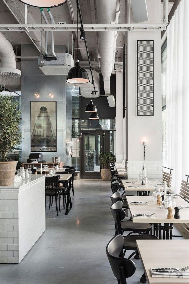 Minimalism With An Industrial Twist Debra Dustjacket Restaurant Decor Restaurant Interior Design Industrial Cafe