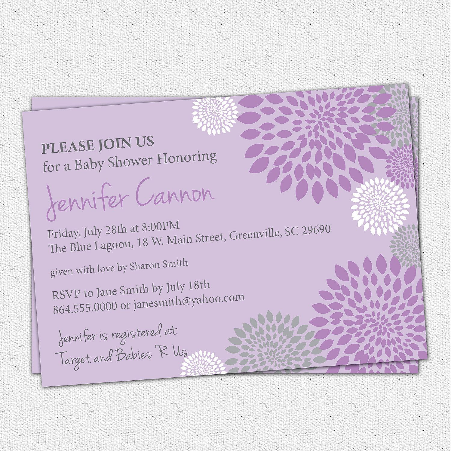 Baby Shower Invitation Printable Girl Purple and Lavender with ...