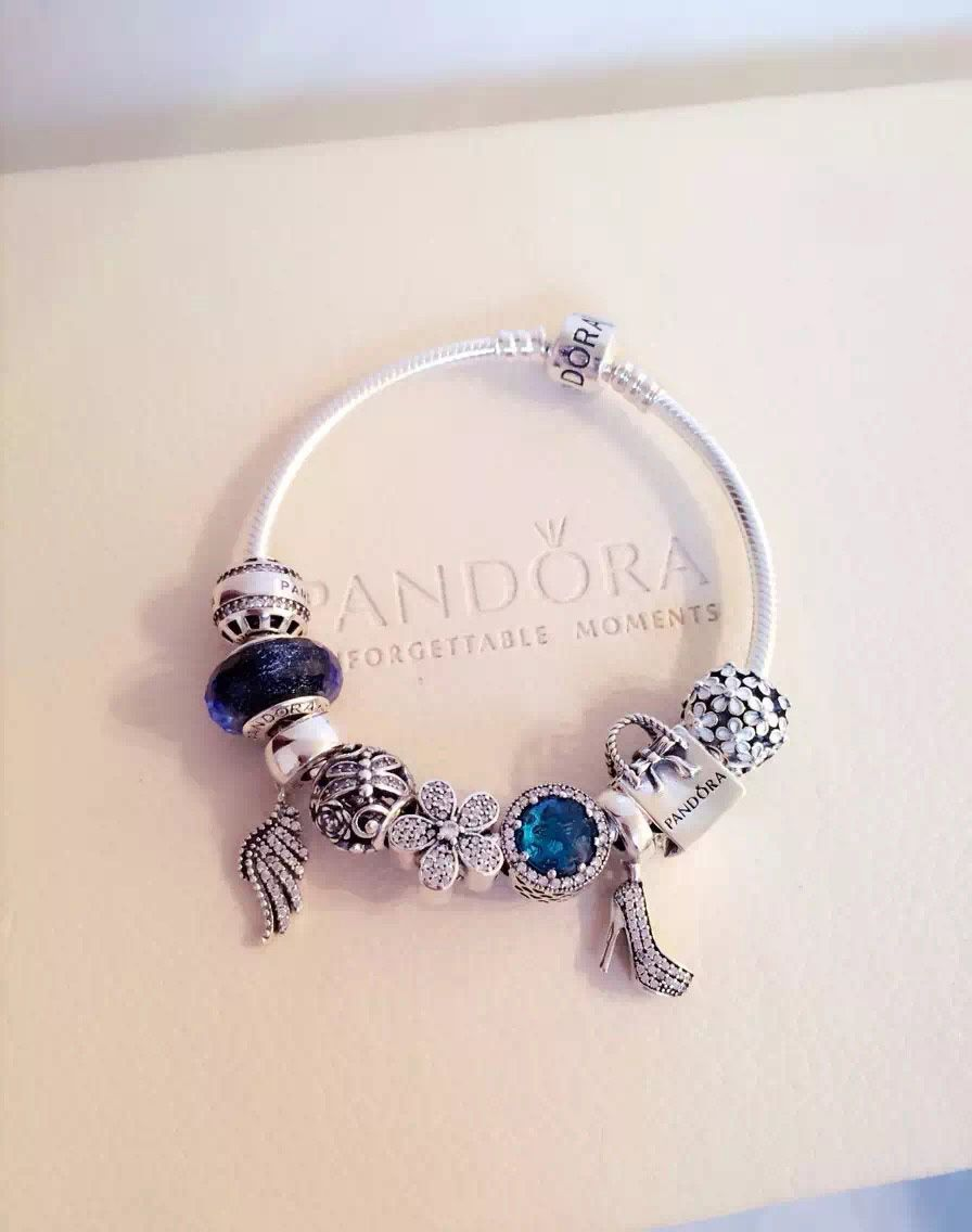 239 Pandora Charm Bracelet Blue White Hot Sku Cb02018 Ideas