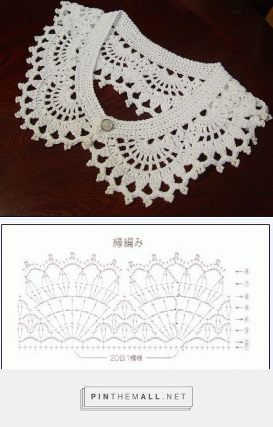 Crochet lace collar with chart: | háčkovaná móda | Pinterest | Punto ...