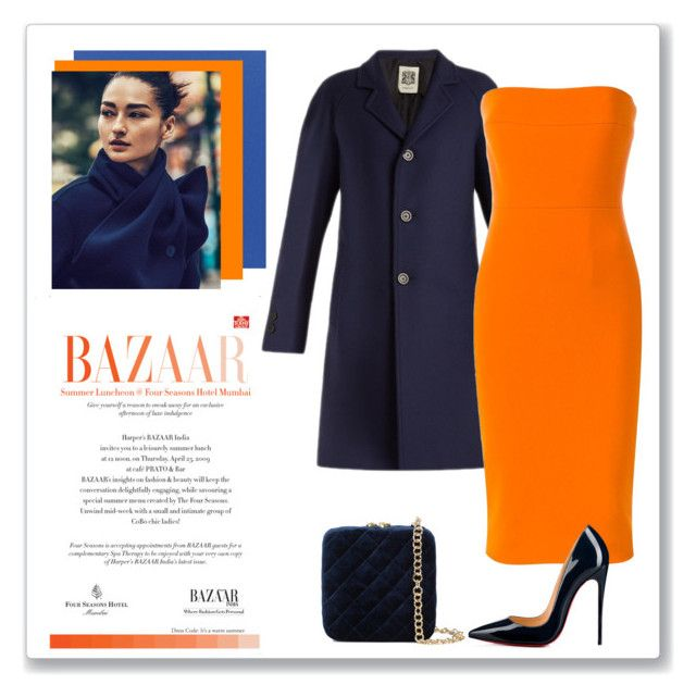 """""""Blue and Orange"""" by annazonno ❤ liked on Polyvore featuring Sunbrella, Connolly, Victoria Beckham, Christian Louboutin and Serpui"""