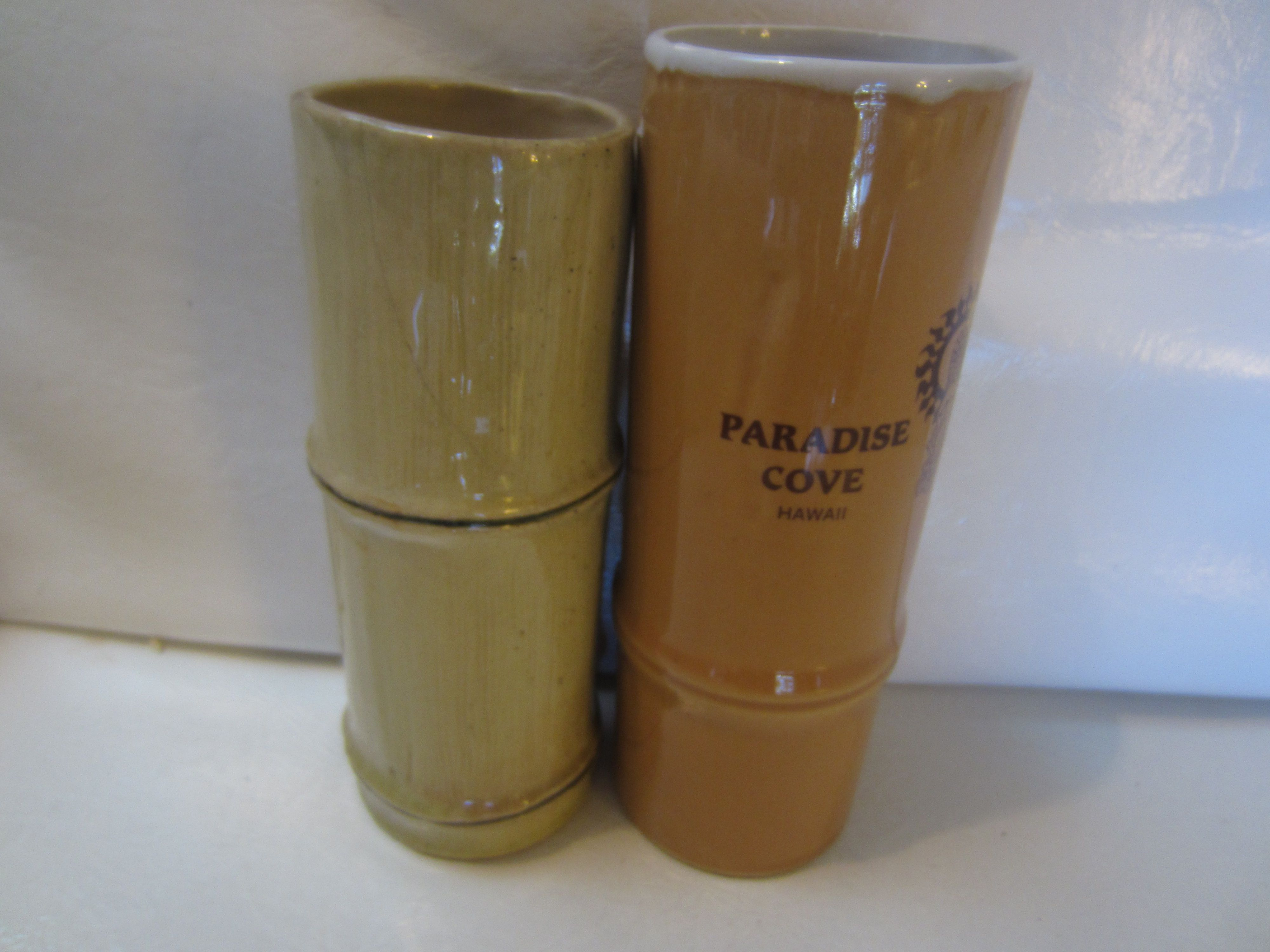 vintage PMP PAUL MARSHALL BAMBOO STYLE TIKI MUG vintage 1961 kitschy souvenir (crack)