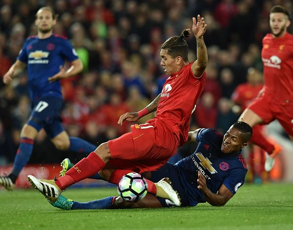 Roberto Firmino Of Liverpool During The Premier League Match Between Liverpool And Manchester United Liverpool Vs Manchester United Manchester United Liverpool