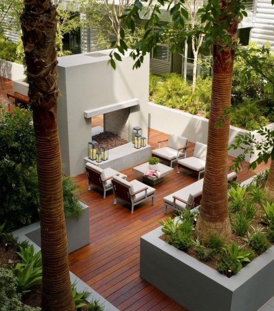 Deck, chimenea y sala de estar. | Jardines y Terrazas | Pinterest ...
