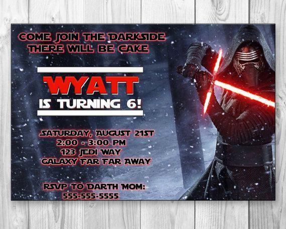 Star Wars Kylo Ren Birthday Party Invitation Invite By BBNGRAFX Custom Invitations