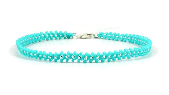 Aqua Anklet - Seed Bead Anklet - Chain Ankle Bracelet - Beadwork Jewelry - Summer Anklet - Beach Jewelry - Bead Jewelry by BeadfulStrings on Etsy