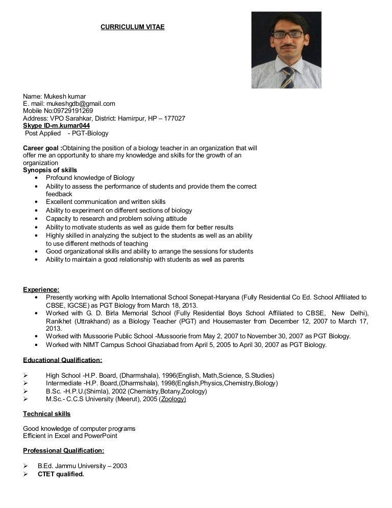 Resume Format For Msc Zoology Resume Format Resume Format Resume Job Resume