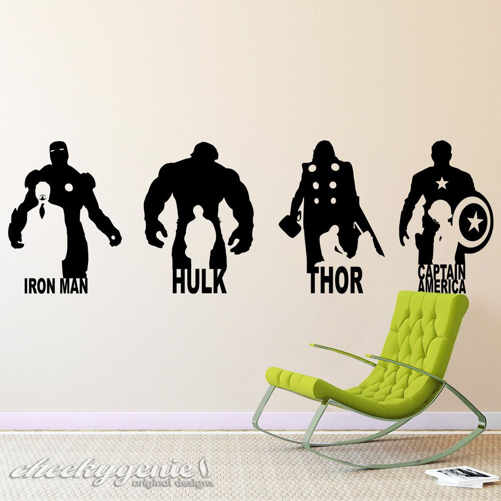 Marvel Avengers Iron Man Hulk Thor Captain America Vinyl Wall Art Sticker Decal Avengers Wall Art Marvel Wall Art Marvel Boys Room