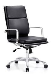 appealing mid century modern office chair. Black leather high back office chair with mid century modern appeal