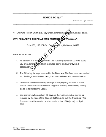Notice To Quit Usa  Legal Templates  Agreements Contracts And
