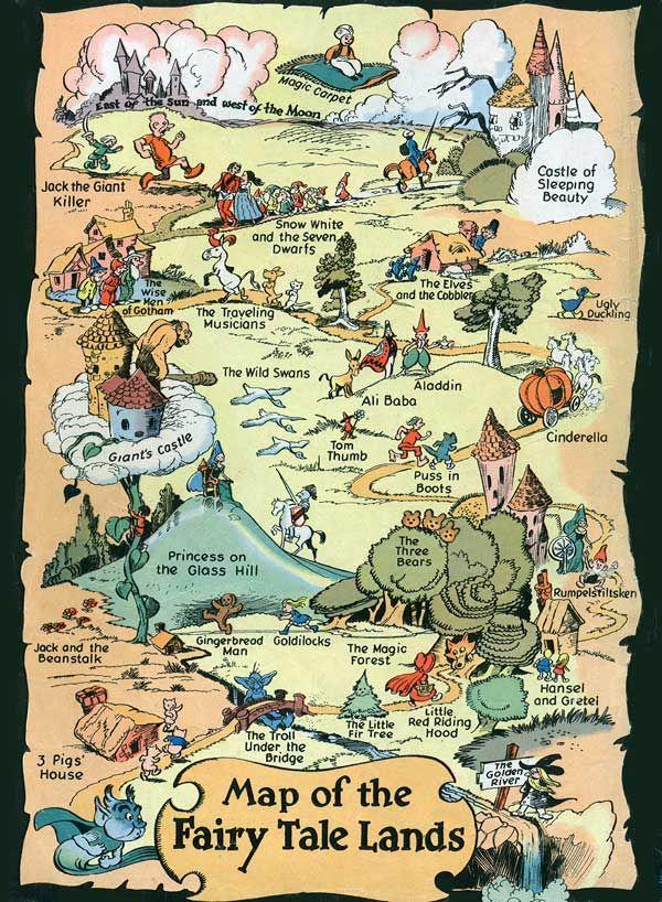Mapa de los lugares muy, muy lejanos en los Cuentos de Hadas