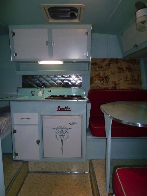 Vintage canned ham travel trailer interior | Scotty Interior Ideas