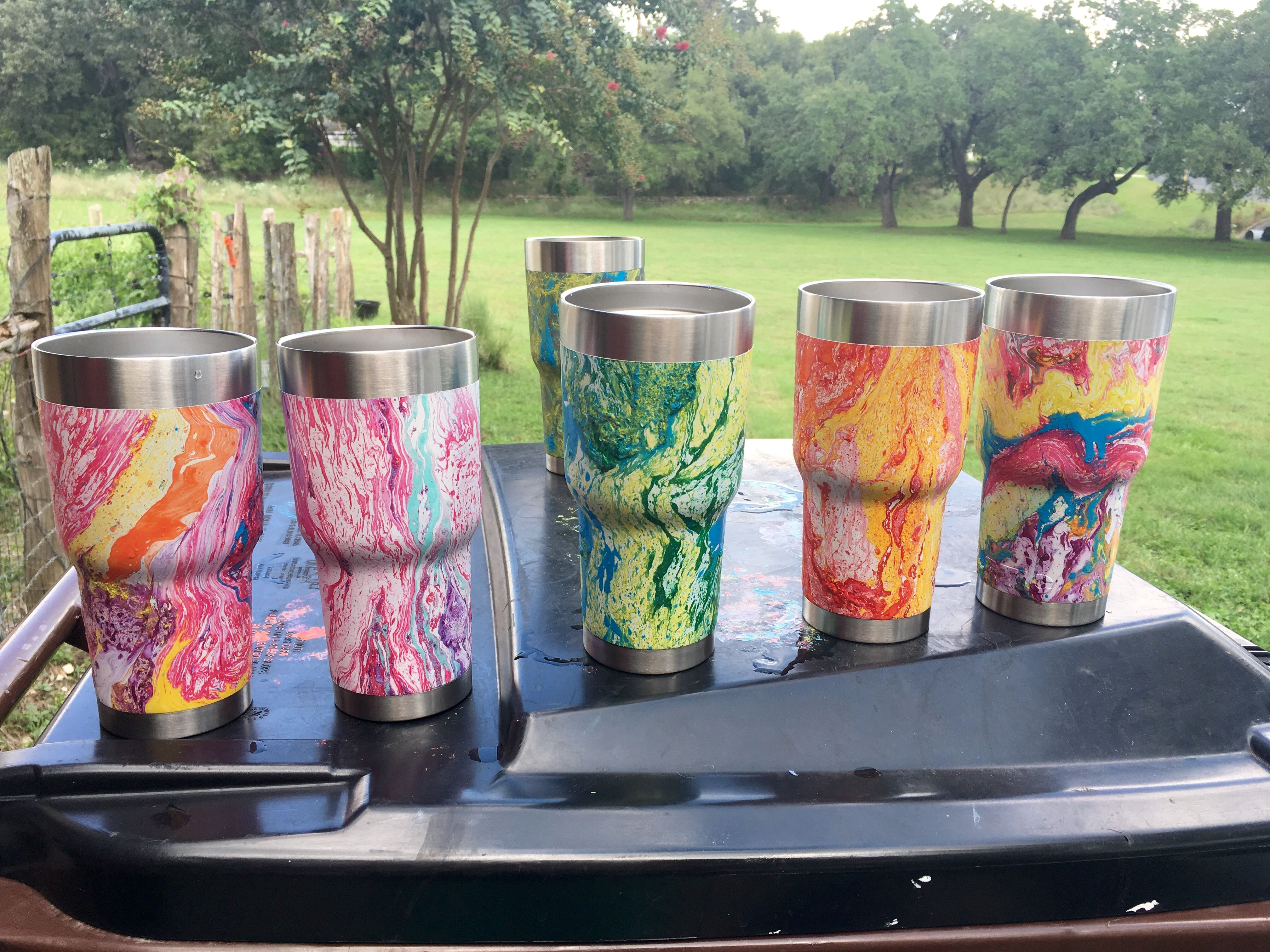 Hydro dipped in spray paint -cups | hydro dipping ideas