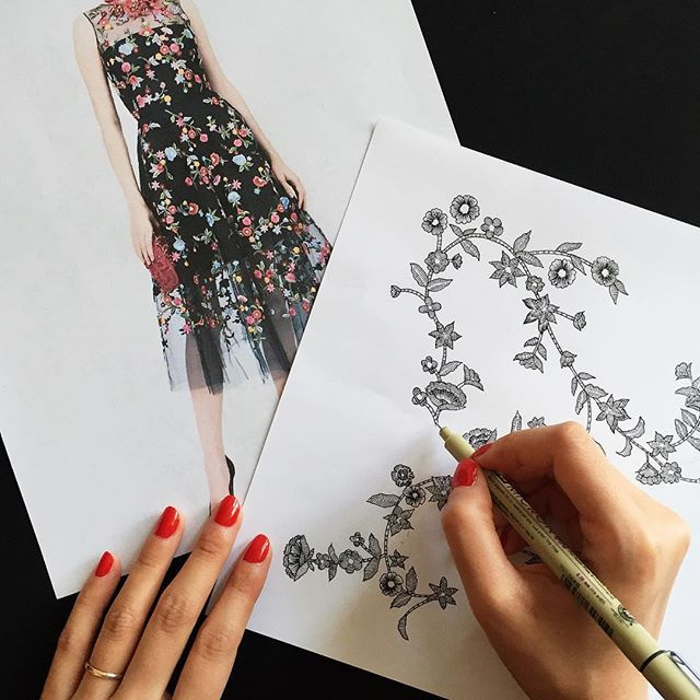 Recreating Oscar de la Renta embroideries by hand for a floral wedding invitation.  Check in tomorrow for the finished suite.