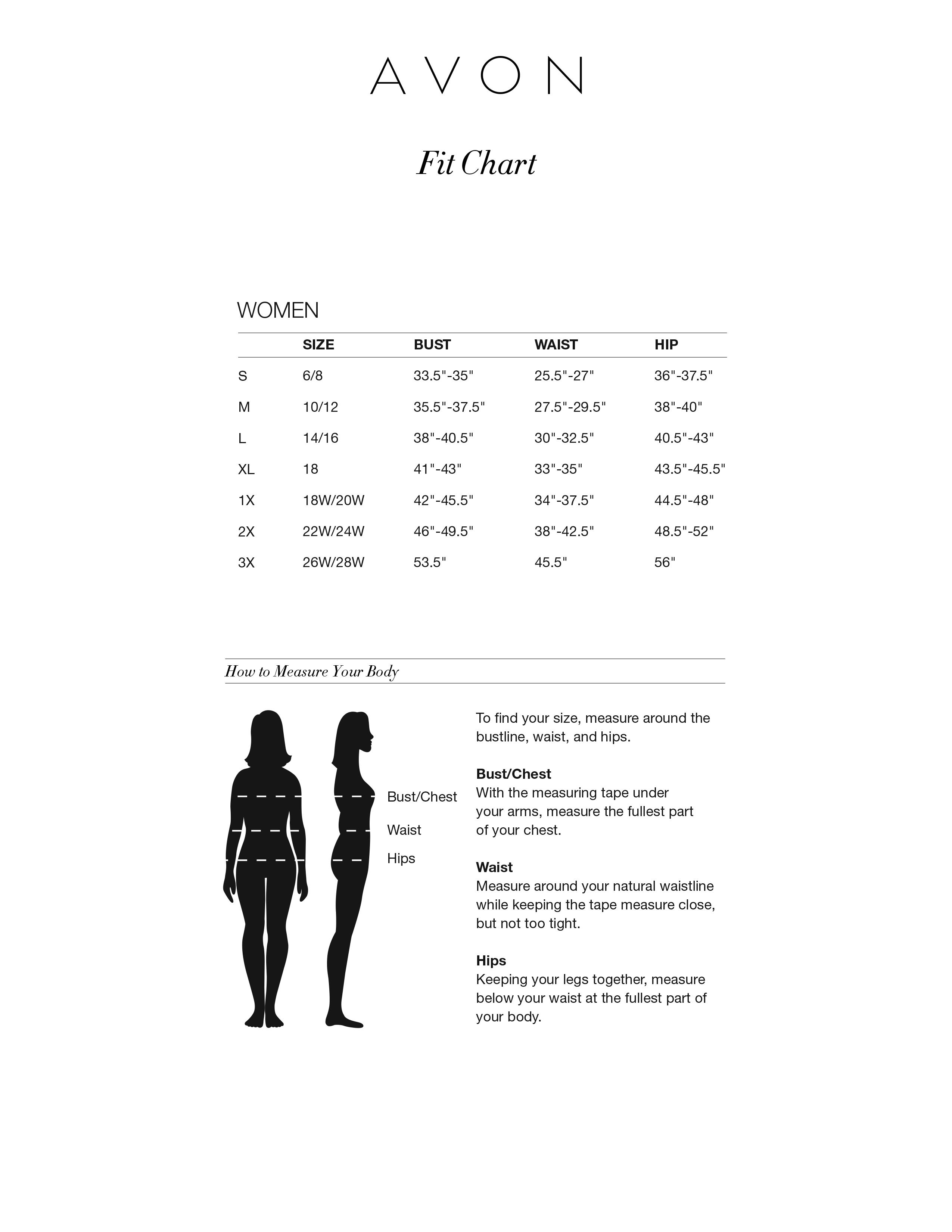Avon Clothing Size Chart