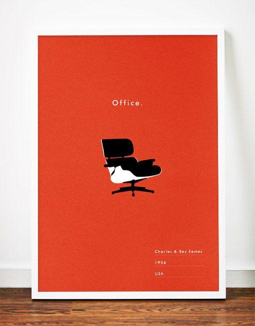 Eames Office poster Mid Century Modern art print lounge chair illustration Retro