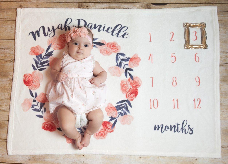 Monthly Milestone Baby Blanket Baby Milestone Blanket Baby Growth Baby Milestones