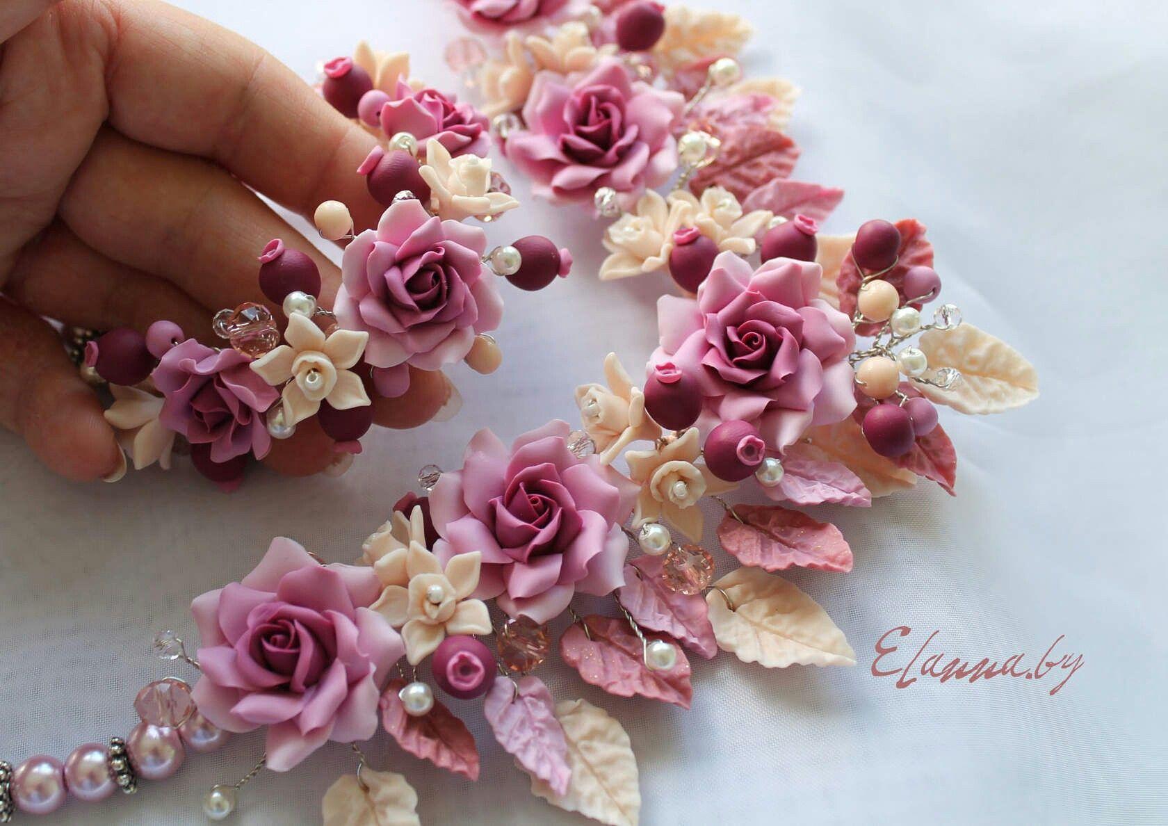 Колье и браслет.  Розы и ваниль. Полимерная глина. Ручная работа.