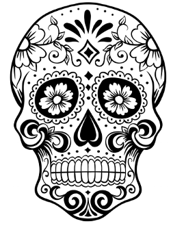 halloween sugar skull mit blumen in den augen d die besten ausmalbilder pinterest. Black Bedroom Furniture Sets. Home Design Ideas