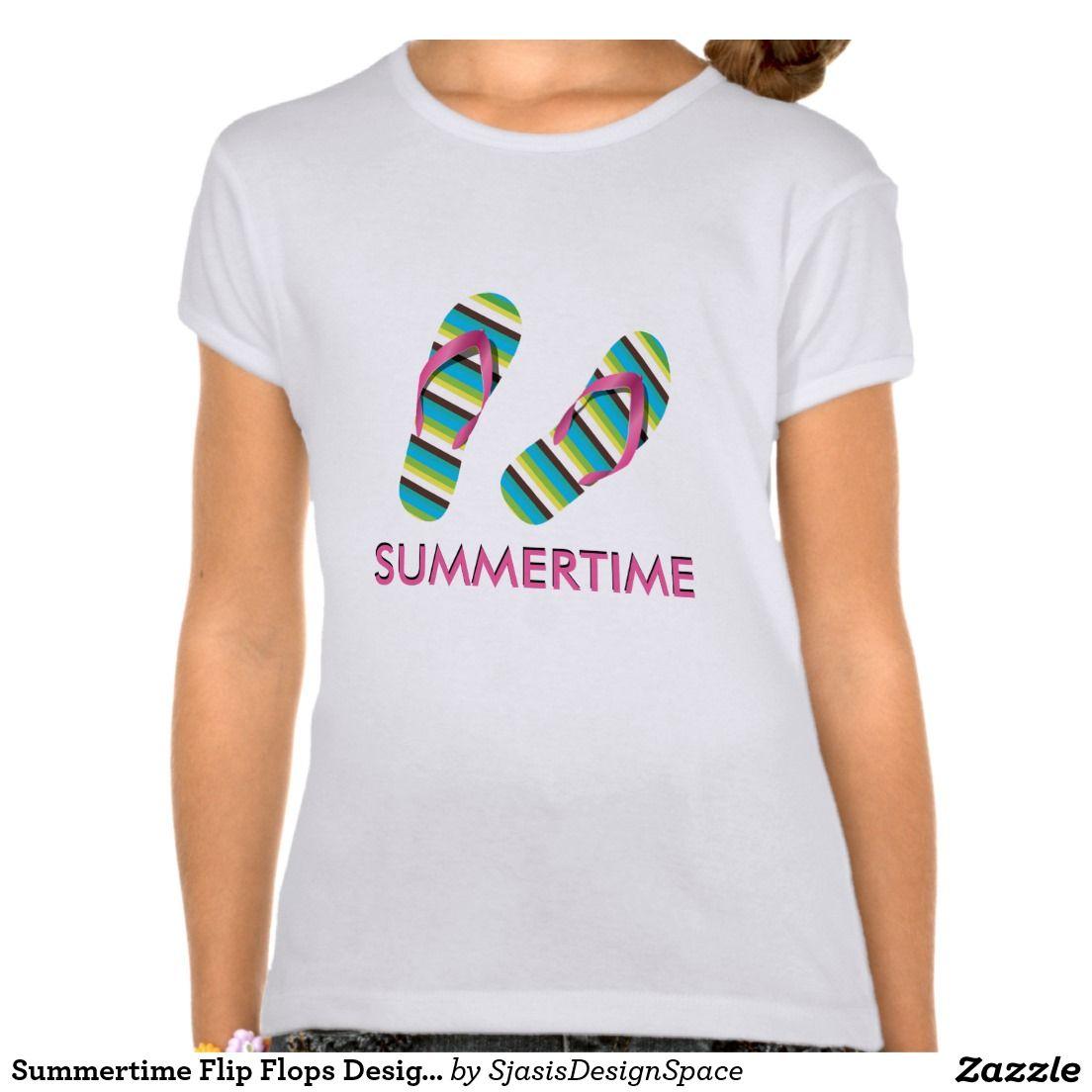 Design t shirt zazzle -  Summertime Flipflops Design T Shirt Sjasis