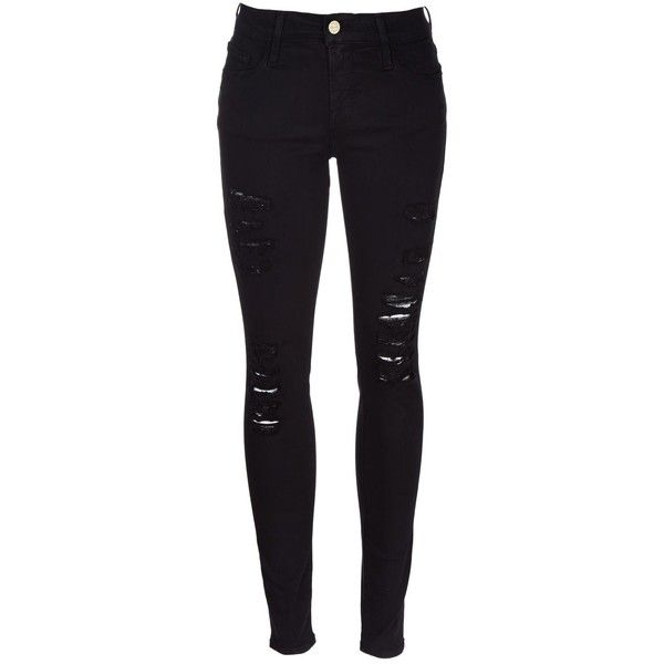 Frame Denim Skinny Ripped Jeans ($200) ❤ liked on Polyvore featuring jeans, pants, bottoms, calças, black, black distressed skinny jeans, skinny jeans, black distressed jeans, destructed skinny jeans and skinny fit jeans