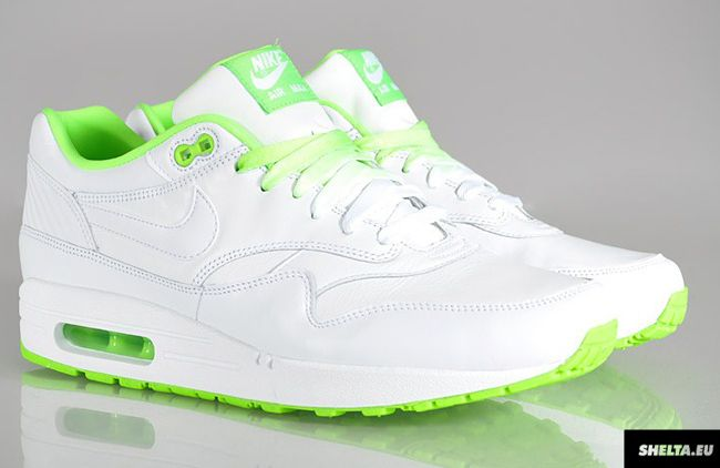 Nike Air Max 1 Clash Pack White Sneakers (White/White-Electric Green)