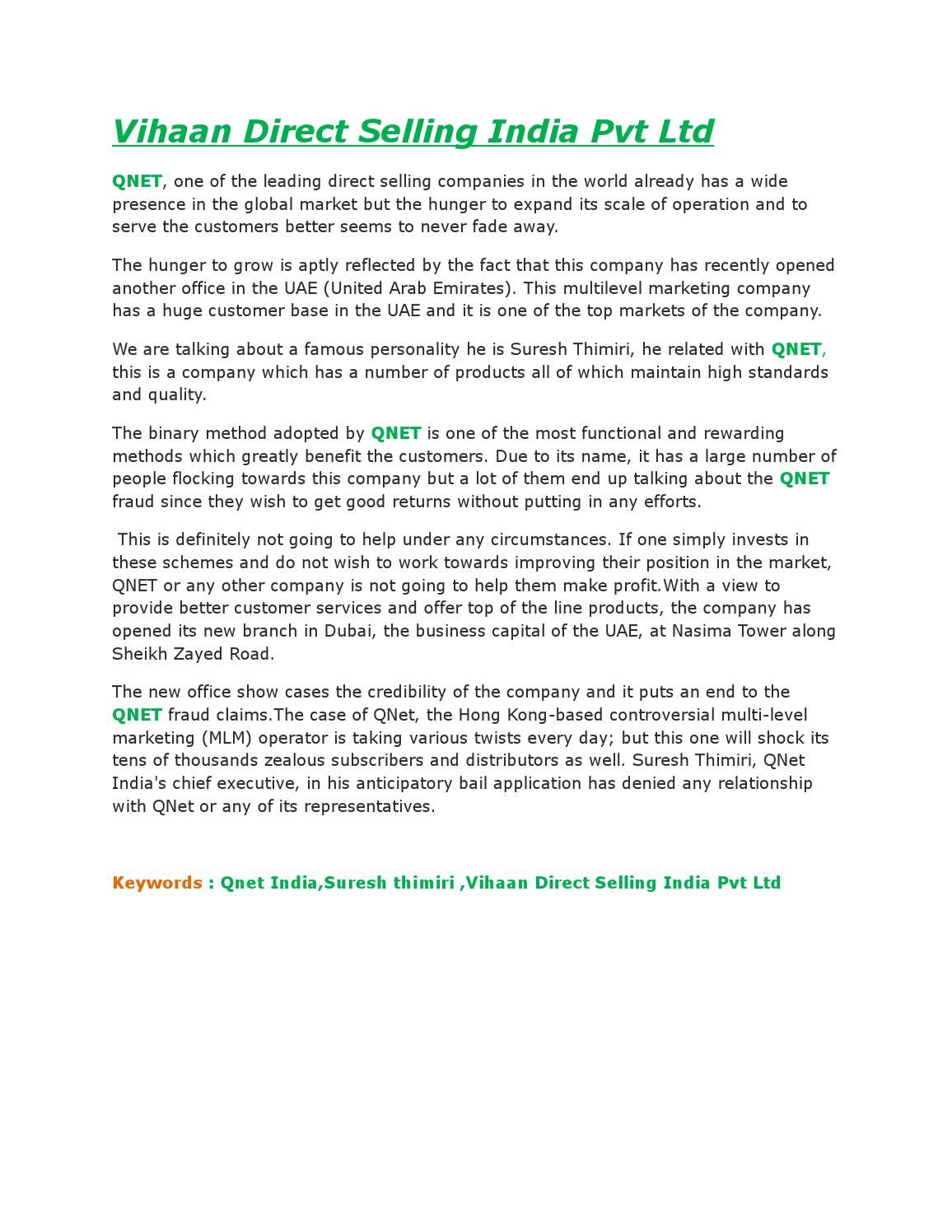 Vihaan direct selling india pvt ltd | Qnet India | Direct
