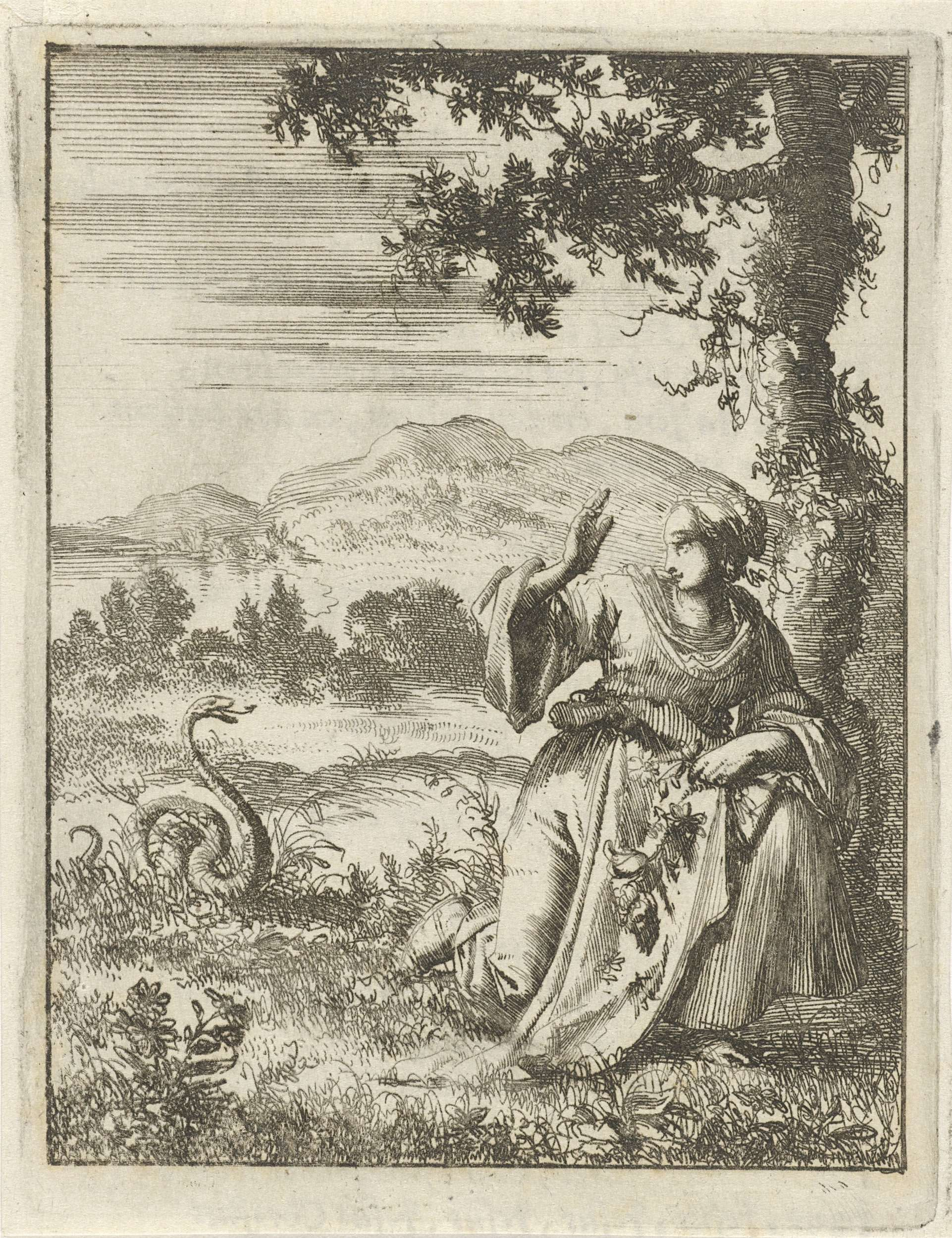 Jan Luyken | Bloemplukkende vrouw aangevallen door een slang, Jan Luyken, Pieter Arentsz (II), 1687 |