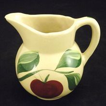 Pottery Watt Pottery Yelloware small pitcher #62 hand painted apple with 3 leaf stem 75  P & G
