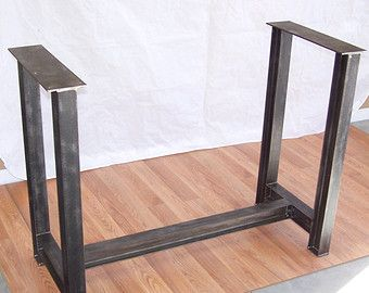Industrial Steel Table Base Kitchen Island Bar Legs Massive Factory Style  Iron Gussets Foot Rail Top Rails