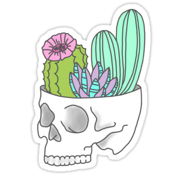 Skull succulent feminist skeleton cactus southwest girly tumblr pastel print sticker by big kidult