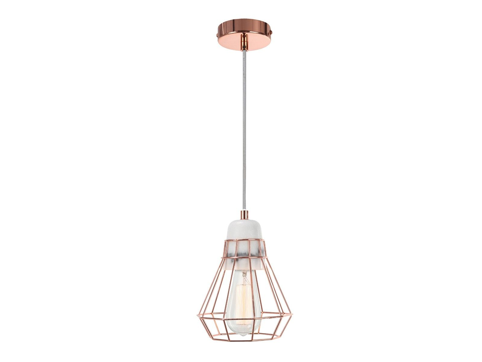 Ando 1 Light Pendant In Marble Copper Cage Modern Pendants Pendant Lights Cage Pendant Light Pendant Lighting Brass Cage