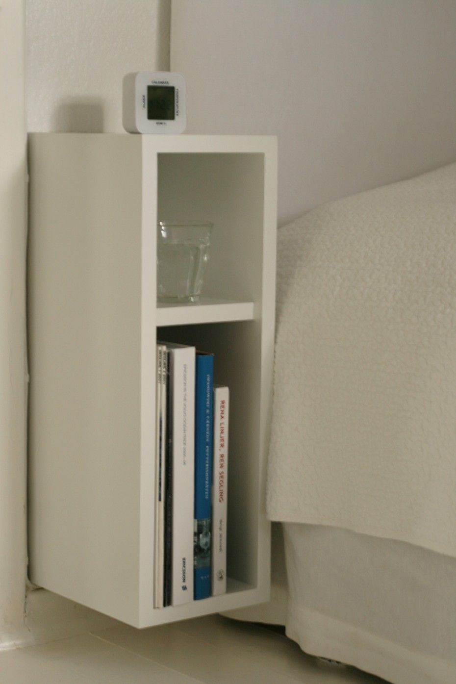 Superb ... Fixtures: Stunning Plywood White Bedside Table With Bookshelving Beside  Comfortable Single Bed With White Cover Bedding In Small Master Bed Design  Ideas