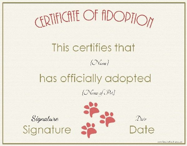 Pin by tuesday deon on pets life 3 pinterest pet life adoption certificate certificate templates pet adoption rabbit free printable pet life 7th birthday dog stuff middle school yadclub Gallery