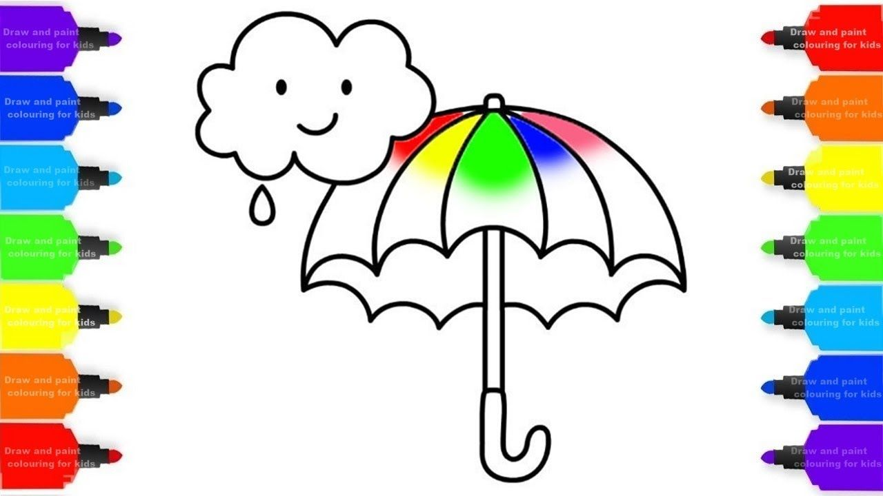 How To Draw Rainbow Umbrella Colorful For Kids Coloring Pages Videos F Coloring For Kids Coloring Pages For Kids Coloring Pages