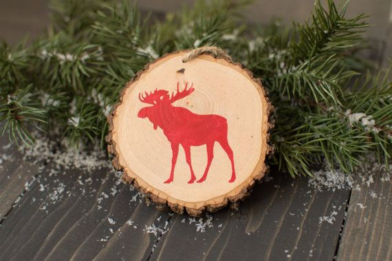 Moose wood slice ornament  Rustic Christmas by FoxyMountainDesigns