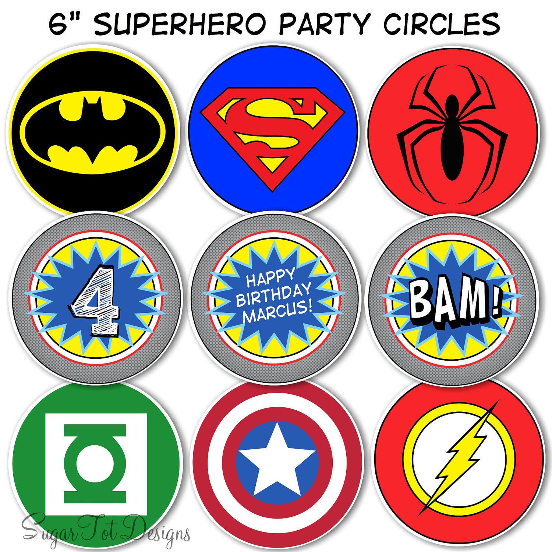 Superhero Party Circles, Superhero Birthday Decor, 6 ...