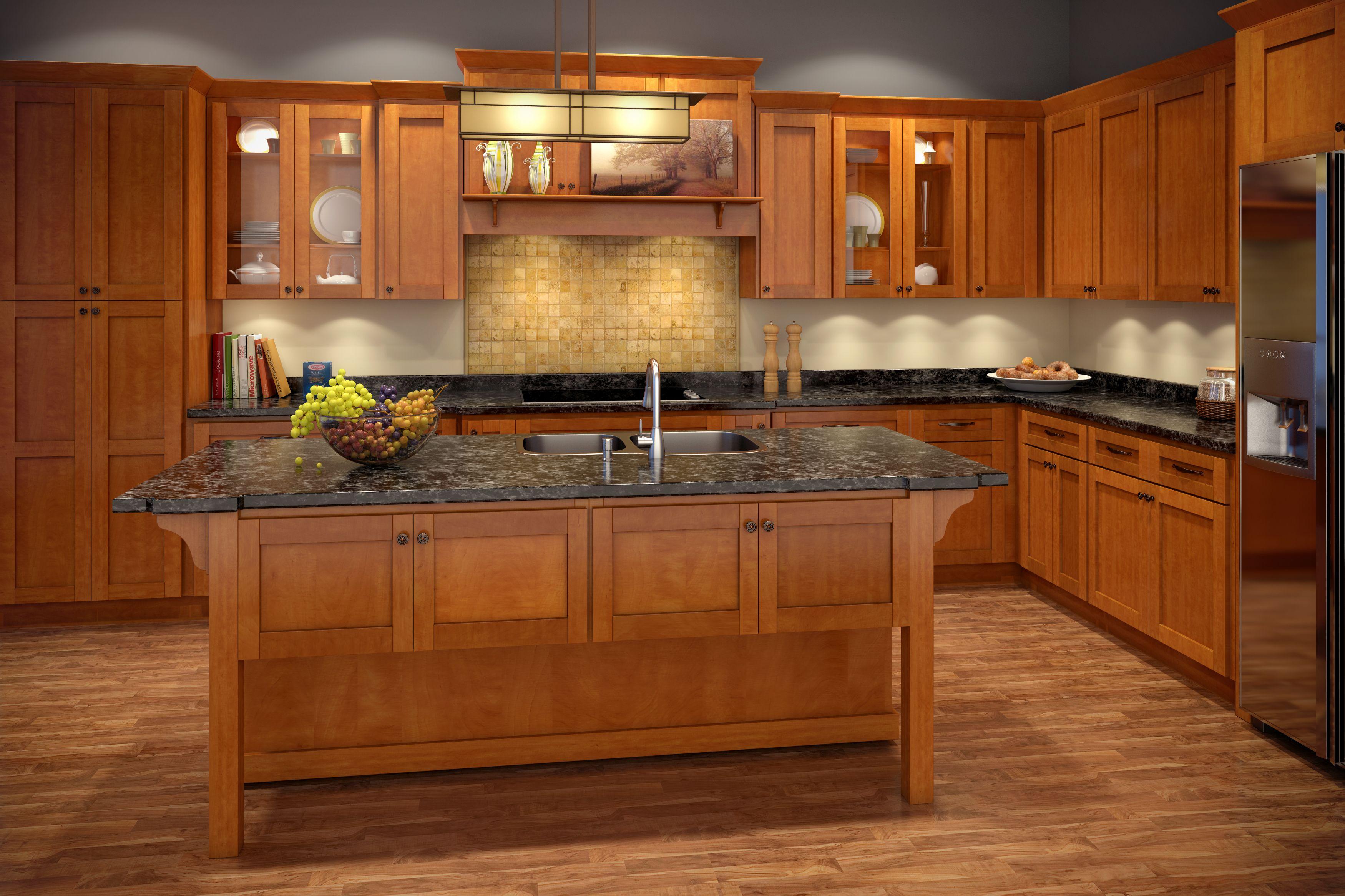 Cinnamon Shaker Assembled Cabinets Style Kitchen Cabinet Design