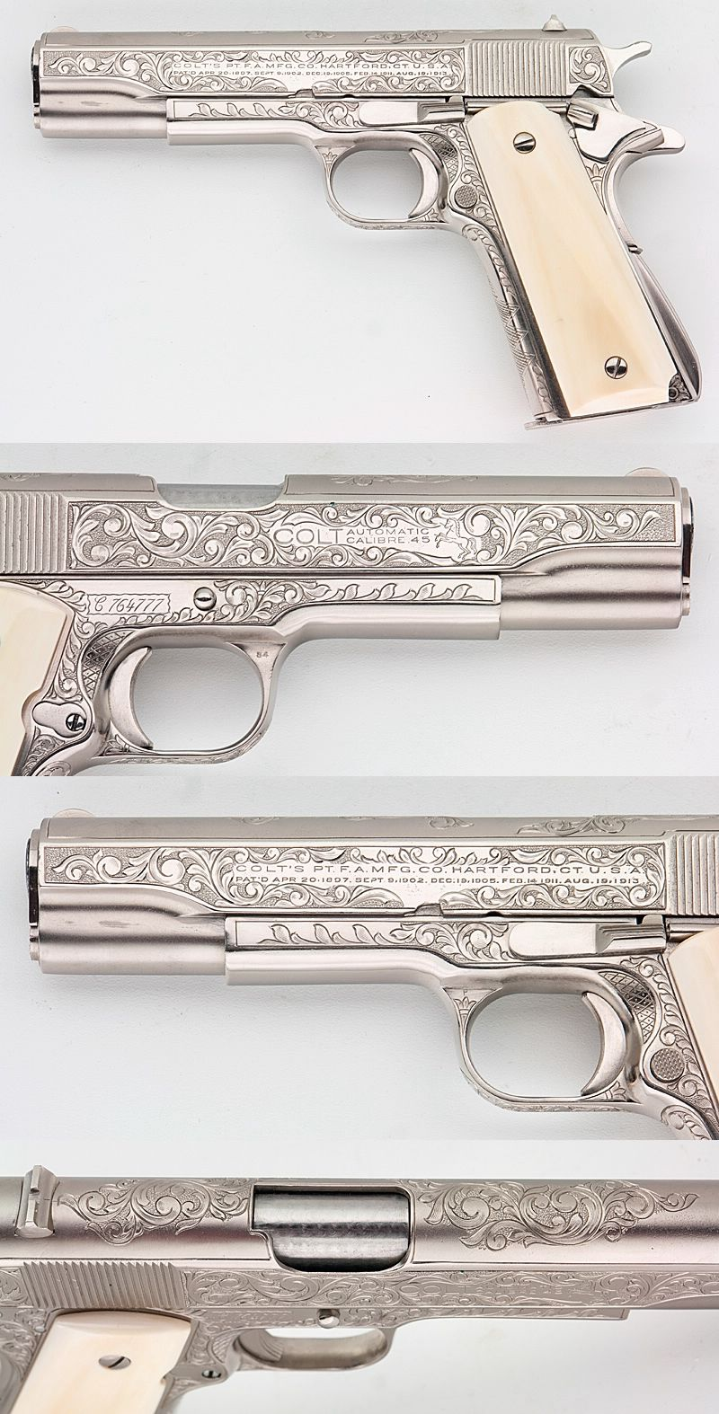 Colt 1911a1 Govt Customized Engraved Nickel Ivory Grips 45 ACP ...