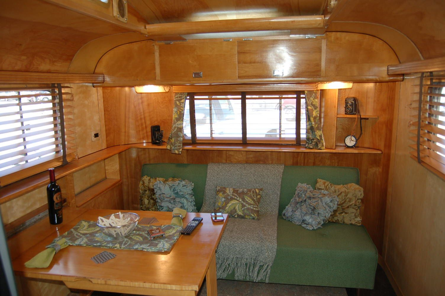Pitcure of amazing wood ceiling in vintage 1948 westcraft for Cheap cabin deals in sequoia