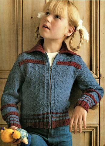 Zip Front Jacket Cardigan Childs Knitting Pattern Vintage