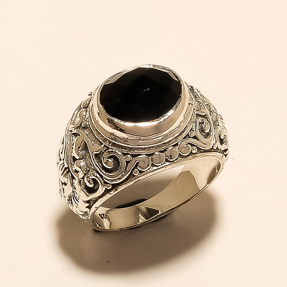 Turkish Ottoman Mens Handmade Black Spinel Ring 925 Sterling Silver Jewelry Gift