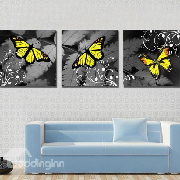 New Arrival Modern Style Lovely Yellow Butterfly Print 3 Piece Cross Film Wall Art Prints Wall Art Prints Butterfly Canvas Canvas Pictures