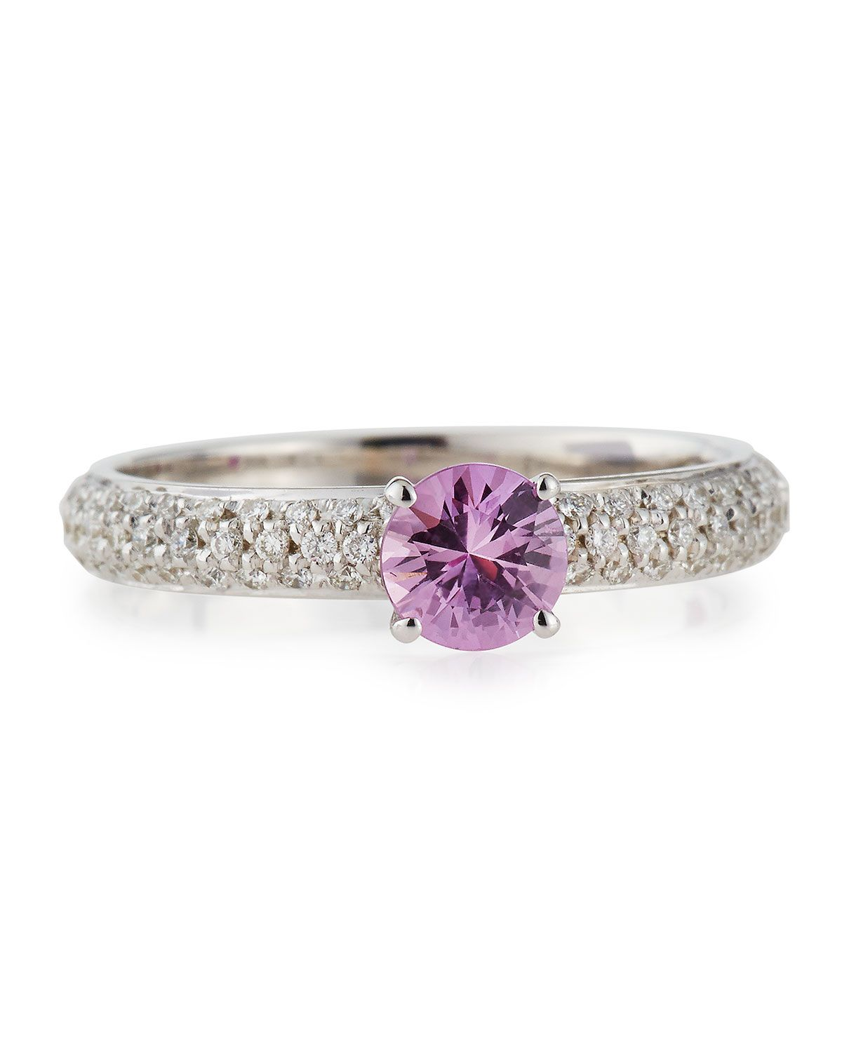 A Barbie Ring!  Roberto Coin Pink Sapphire Solitaire Ring with Pave Diamond Band, Size 6.5