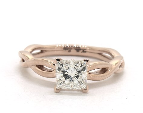 1.00 Carat Princess Cut Solitaire Engagement Ring in 14K Rose Gold