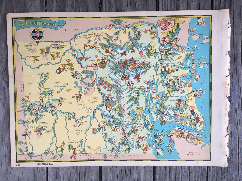 Seattle Washington Map Tourist.Washington Map Art Old Map Illustration Spokane Tacoma And