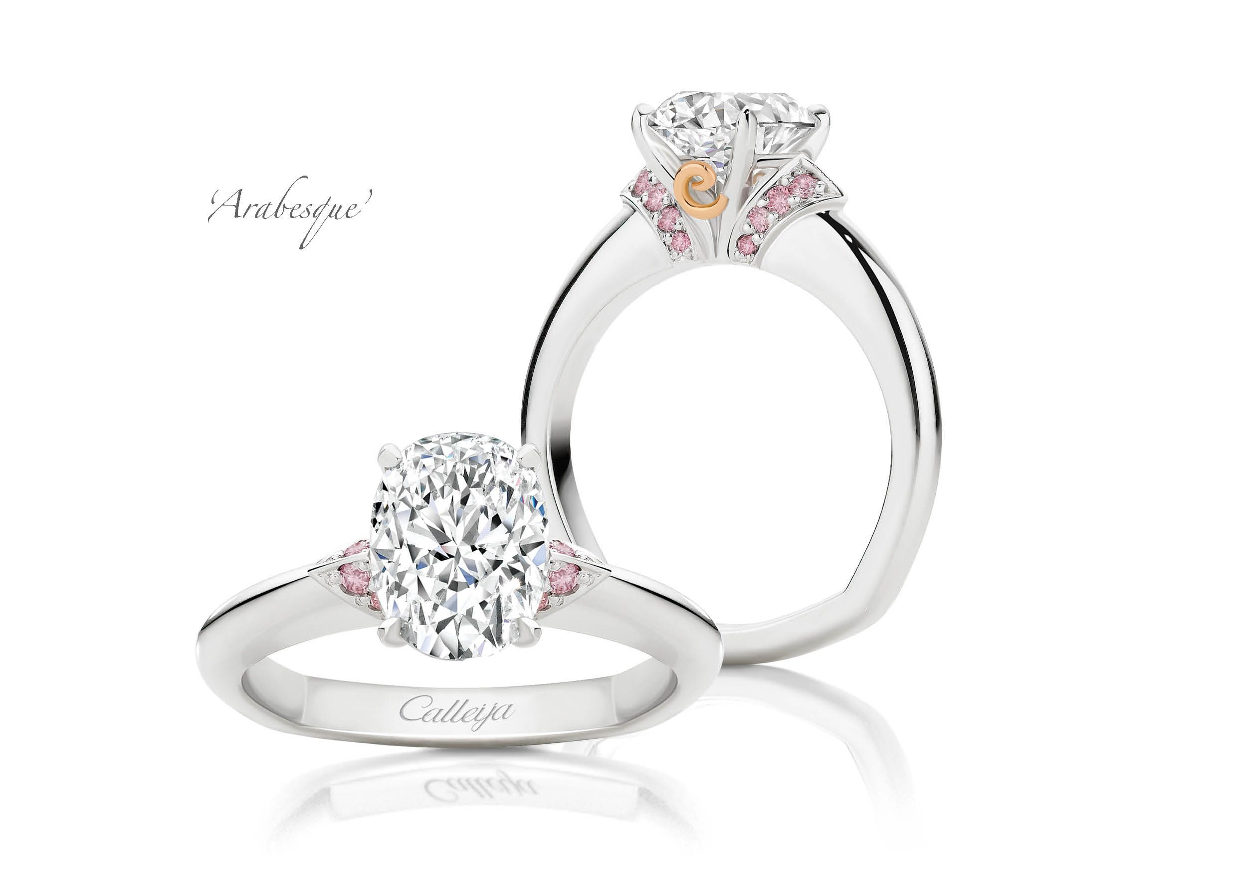 Arabesque White And Argyle Pink Diamond Ring With Images Pink