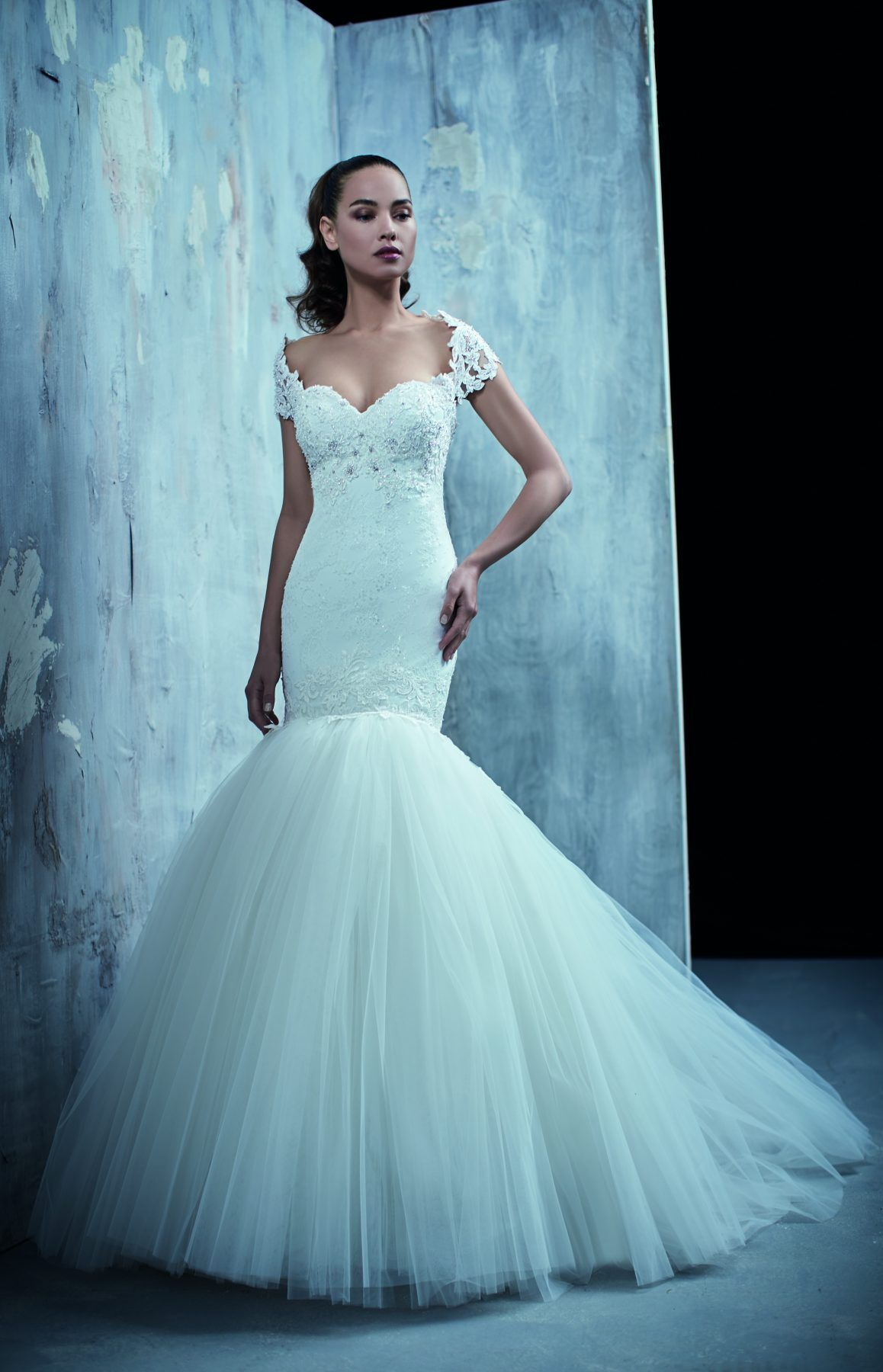 Cap sleeve mermaid gown with sweetheart neckline, featuring beading ...