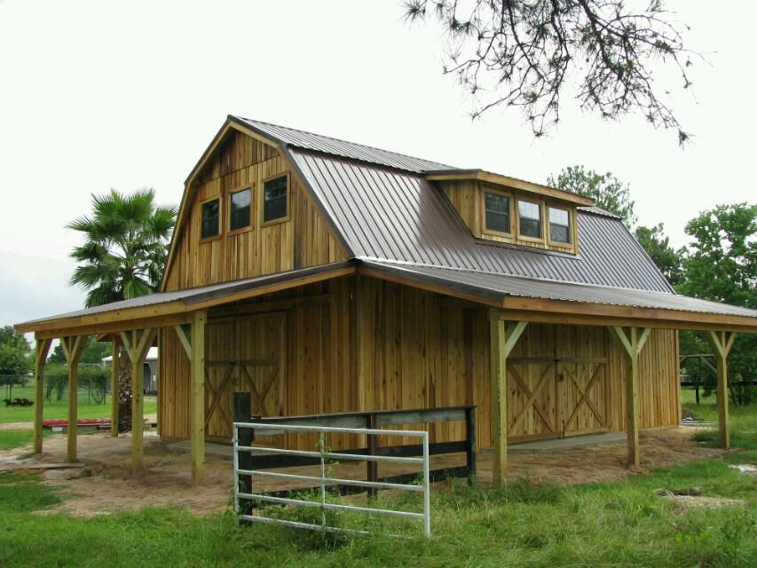 Gambrel pole barn by barns and buildings barns for Small gambrel house plans